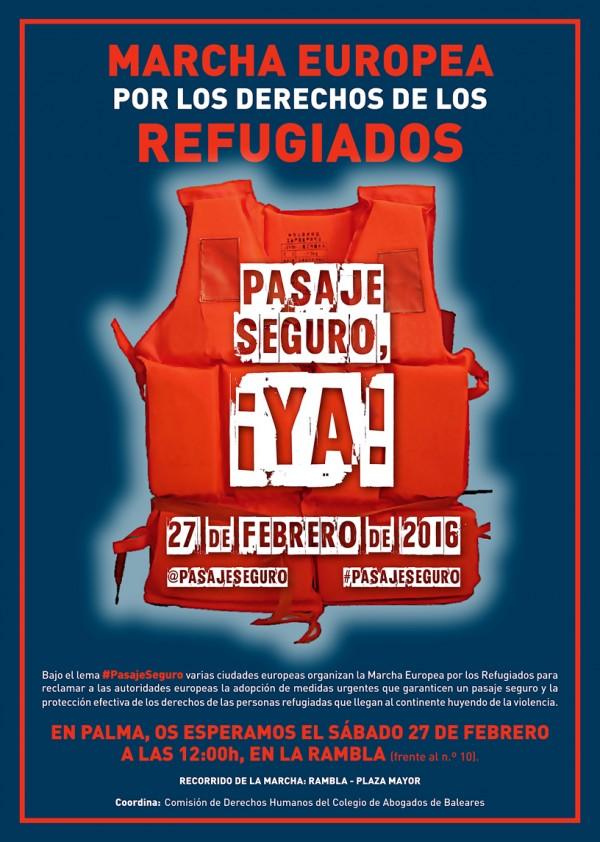 27F: #PasajeSeguro.- La Comisión de DD.HH. convoca una concentración para sumarse a la la Marcha Europea por los Refugiados