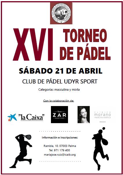 21 de abril.- XVI Torneo de Pádel del ICAIB