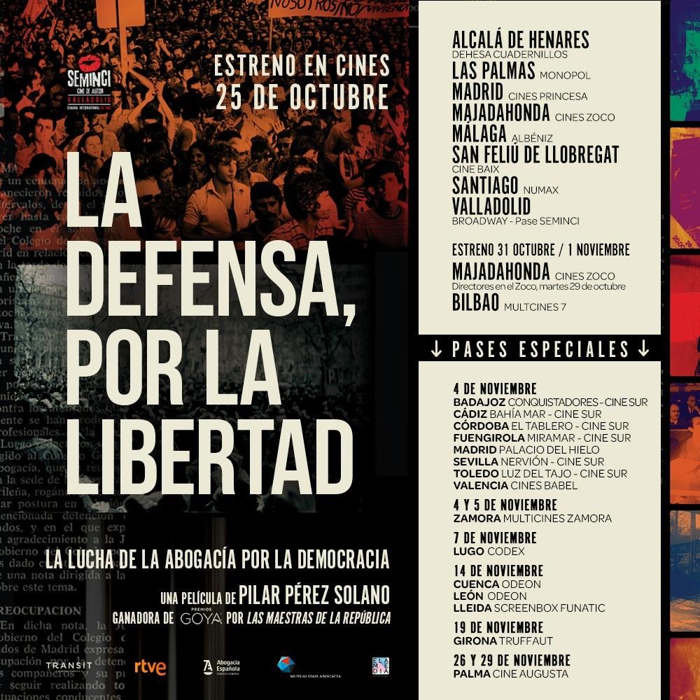 """""""La Defensa, por la Libertad"""", no te pierdas los únicos pases del documental sobre la lucha de la abogacía por la democracia. 26 y 29 de noviembre, en la Sala Augusta"""