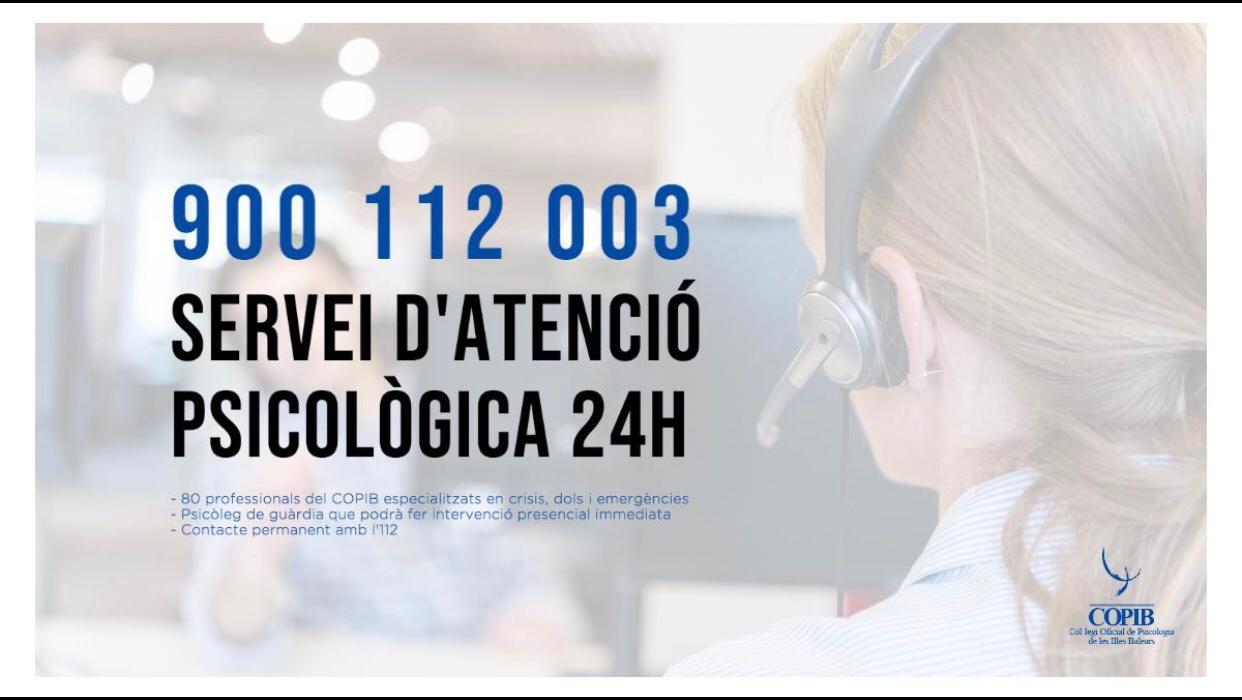 COVID-19. Servicio telefónico de atención psicológica 24 horas