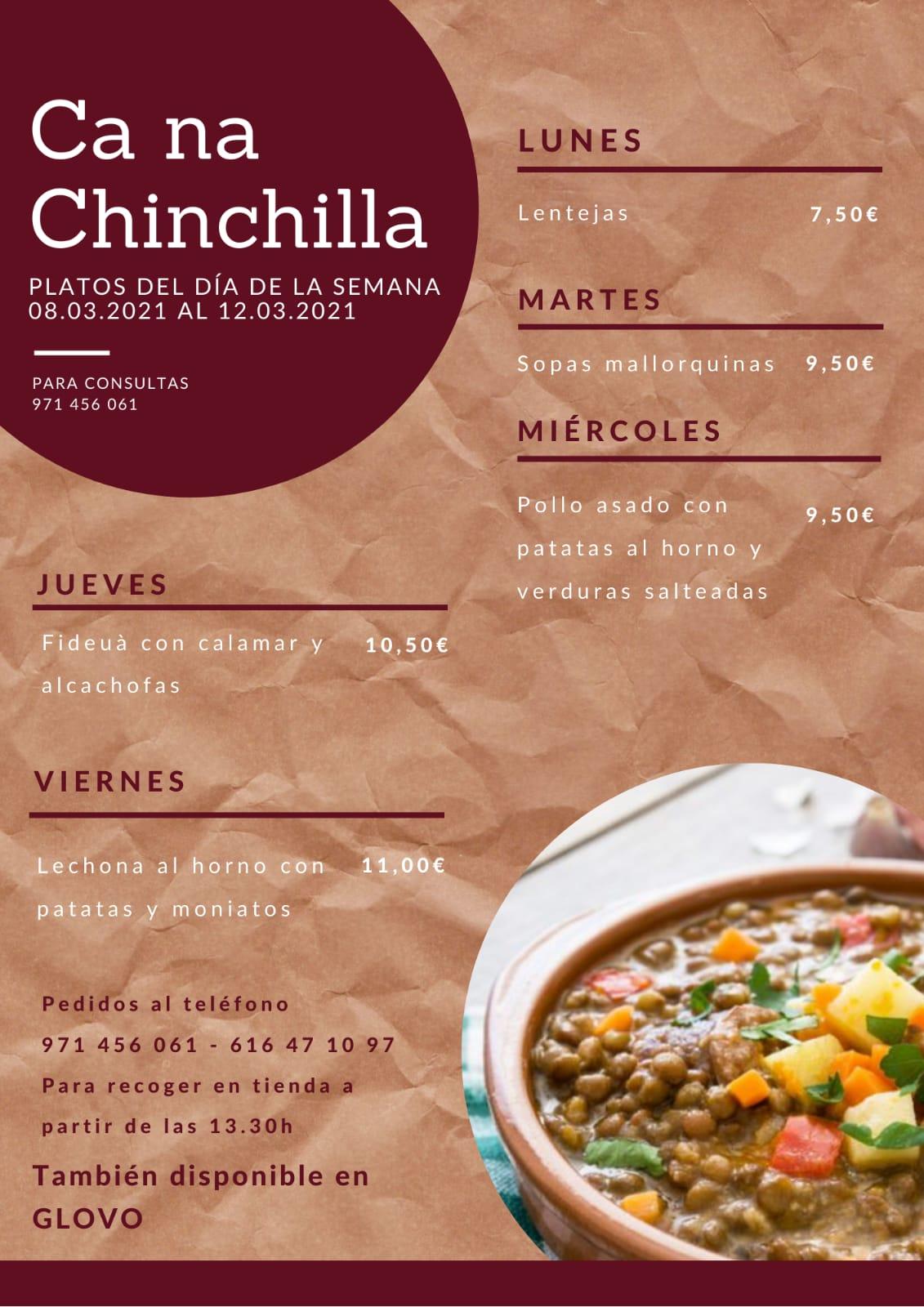 Menú setmanal de plats del dia de Ca na Chinchilla. Disponible també en terrassa!