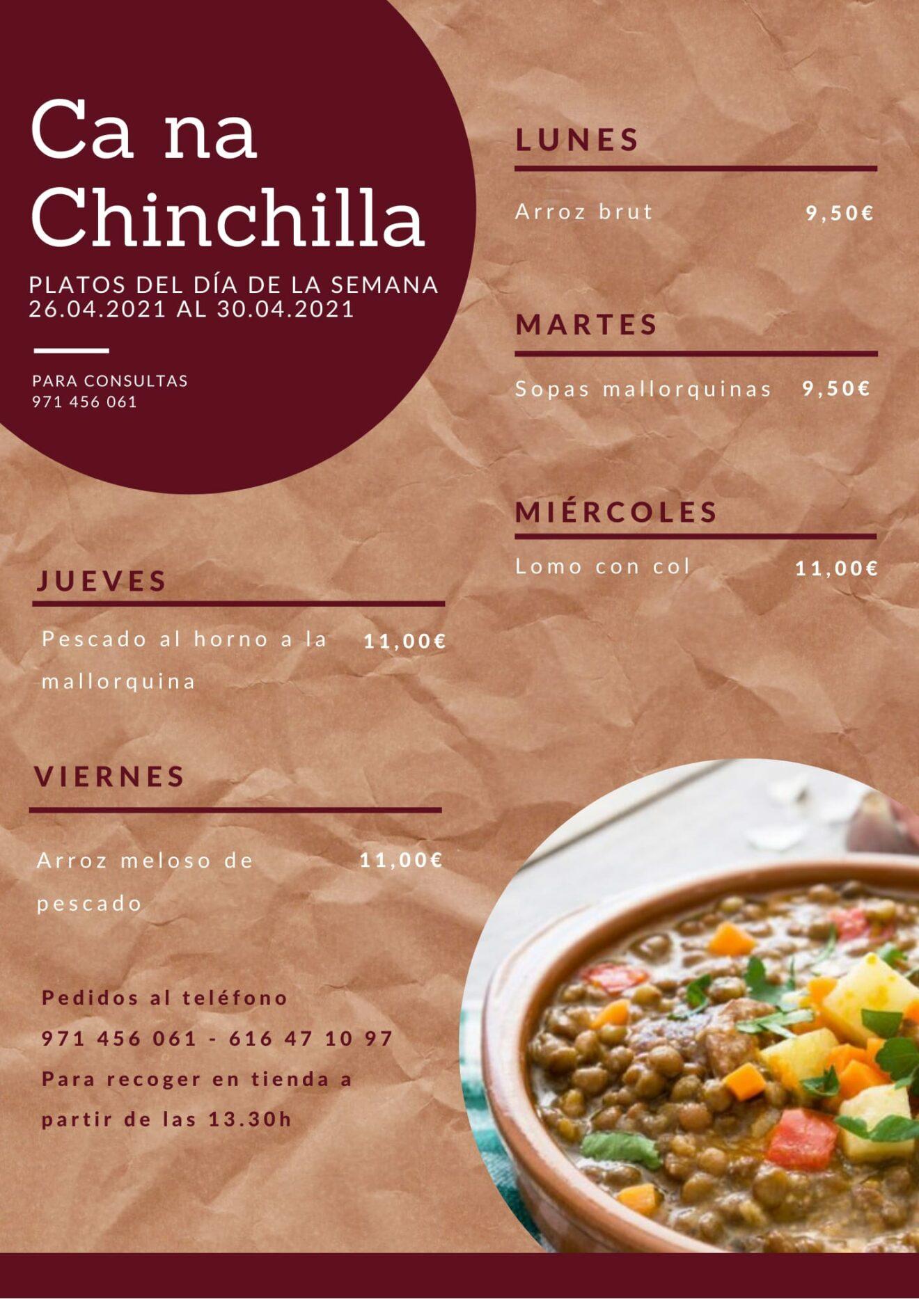 Menú semanal de platos del día de Ca na Chinchilla. ¡Disponible también en terraza!